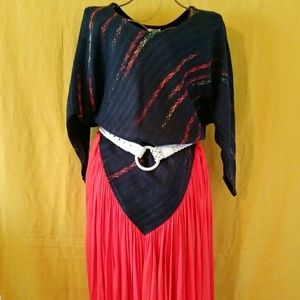 Vintage Jasmine Hixson Blue Red Silk Sweater Dress